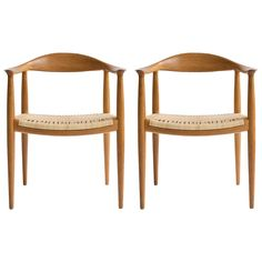 Pair of Hans J. Wegner Oak Chairs, Johannes Hansen | See more antique and modern Armchairs at http://www.1stdibs.com/furniture/seating/armchairs