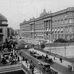 1894.. Berliner Stadtschloss.. Elector Wilhelm statue.. Langenbrücke.. Königsstraße.. Schlossplatz
