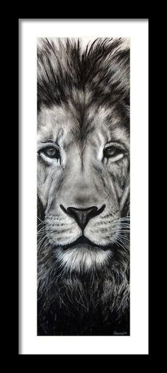 Guardian Framed Print By Courtney Kenny Porto #lion #face #buy #gift #idea #for #him #her #drawing #art #realism