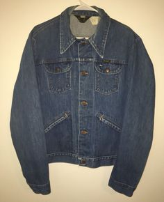 Vtg Mens WRANGLER Blue Jean Denim Jacket Coat 44 L Long Made In USA Cotton #Wrangler #JeanJacket