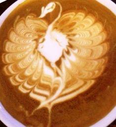 倫☜♥☞倫 Coffee Art Peacock latte ....♡♥♡♥♡♥Love★it