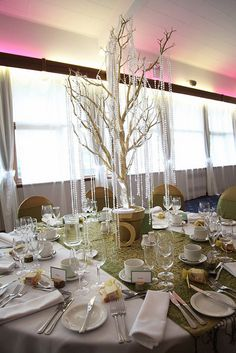 Crystals + tree centerpieces - I love the look of this - natural elements dressed up with crystals and lace - MP Tree Centerpieces, Wedding Centerpieces, Wedding Decorations, Table Decorations, Tree Wedding, Christmas Wedding, Wedding Table, Crystal Tree, Party Decoration