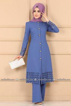 Modaselvim KOMBİN Lazer Detay 2 Li Kombin 5006AY342 Mavi Hijab Fashionista, The Dress, Indigo, Cold Shoulder Dress, Dresses With Sleeves, Long Sleeve, Biryani Recipe, Dresses, Full Sleeves
