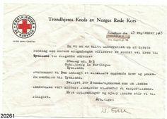 Rødekorsbrev  Brev til pårørende til fanger om at fangen er kommet fram til Tyskland, Starlag XXI, D/S (Tysk krigsfangeleir). Brevet gjelder antagelig Rittmester Johan Weisæth, den eneste verdalingen som var krigsfange i Tyskland
