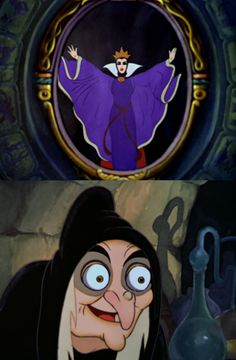 "At a recording session, Lucille La Verne, the voice of the Wicked Queen, was told by Walt Disney's animators that they needed an older, raspier version of the Queen's voice for the Old Witch. Ms. Laverne stepped out of the recording booth, returned a few minutes later, and gave a perfect ""Old Hag's voice"" that stunned the animators. When asked how she did it, she replied, ""Oh, I just took my teeth out."" (Disney hidden secrets tumblr)"