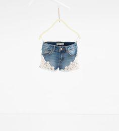 Image 1 of Denim crochet Bermuda shorts from Zara
