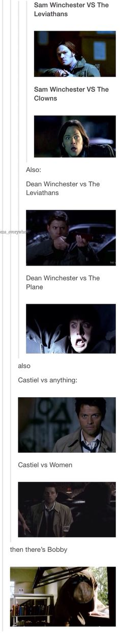 """Just wanted to put this out lol holygrails: """" jmoosalecki: """" neraiutsuze: """" acklesforlife: """" Sam Winchester VS The Leviathans Sam Winchester VS The Clowns """" Also: Dean Winchester vs The. Sam Dean, Sam E Dean Winchester, Winchester Brothers, Supernatural Fandom, Supernatural Quotes, Supernatural Episodes, Supernatural Tattoo, Supernatural Wallpaper, Jared Padalecki"""