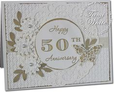 Stampin up 50th Anniversary card using Memorable Moments and Papillion Potpourri (butterfly) stamp sets