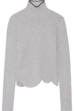 Gray ribbed wool-blend Slips on 57% wool, 25% angora, 17% polyamide, 1% elastane…