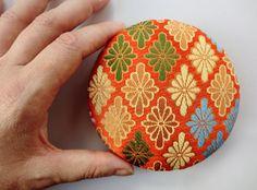 "Golden kimono fabric brooch 4"" inches, handmade Japanese fabric pin back, Kawaii accessory, japanese brocade fabric pin, on Etsy, $24.00"