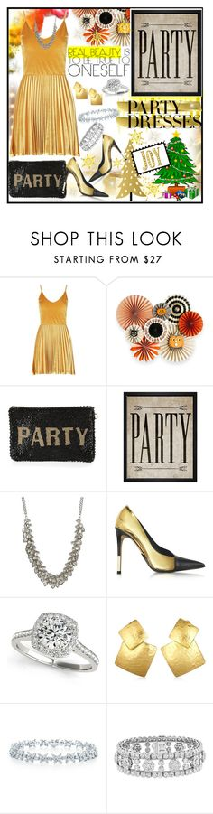 """""""Polypresents: Party Dresses"""" by jeneric2015 ❤ liked on Polyvore featuring Boohoo, Mary Frances Accessories, Hatcher & Ethan, ABS by Allen Schwartz, Balmain, Allurez, Oscar de la Renta, Van Cleef & Arpels, partydress and polyPresents"""