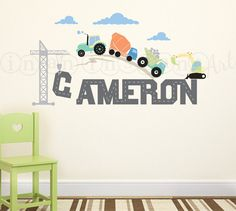 Construction Scene and Custom Name, Tractor, Truck, Crane Wall Decal for Baby Nursery or Children's Room 004