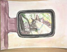 Art class homework assignment (I had to draw something in a car mirror, so I drew my cat lol) //☆Kåt☆ (@otakucat)