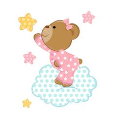 Pink Teddy Bear Wall Mural Decal for baby girl nursery. Wishing on a star, while little bear stands on a fluffy floating cloud surrounded by the twinkling night stars. This bear is absolutely adorable with her cute pink pajamas #decampstudios