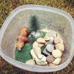 This is cool. Inside the plastic container is a little forest scene and some rocks hiding a tiny ammo can #geocache. I'm guessing that's where the log is. :) How much fun would it be to open a cache like this? (pinned from websta to Creative Geocache Containers - pinterest.com/islandbuttons/creative-geocache-containers/)