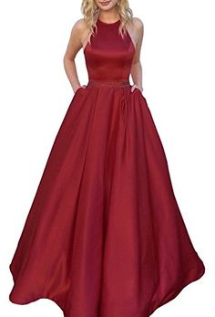 46fd4cbc15c Women s Halter A-Line Beaded Satin Evening Prom Dress Formal Ball Gown Long  With Pockets
