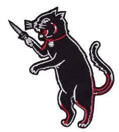 Black Cat with Blade Fink Rockabilly Tattoo Goth Punk Rock Biker Patch