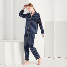 Women Sexy Silk Satin Lingerie Set Nightgown Striped Sleepwear For Ladies  Pyjama Femme Pijama Sets Nightwear ad27765b1