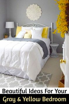 Beautiful Ideas For Your Gray and Yellow Bedroom - decorating your bedroom on a budget?  These yellow and grey bedroom decorating ideas are gorgeous!  Perfect for a master bedroom, guest bedroom, teen bedroom and more!