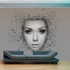 Wall Mural - Inflow of thoughts #style #home #wallart #inspiration #roomdecor #waterproof #cover #beautyful #face #girl