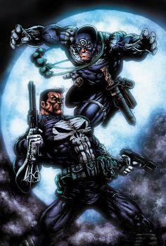 The Punisher vs Bullseye (Marvel) Marvel Comic Books, Comic Book Characters, Comic Book Heroes, Marvel Characters, Comic Character, Comic Books Art, Comic Art, Book Art, Dc Comics