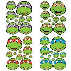 Instant Download Turtles- for Balloon, Stickers, Lollipop, Favor bags, Cups -  Ninja eyes Birthday party - PRINTABLE