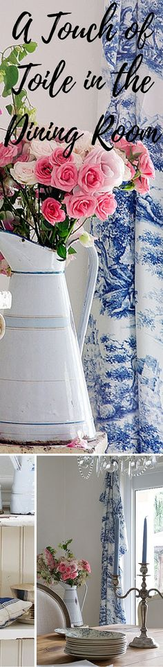 A Touch of Toile in the Dining Room from Shabbyfufu Blog. Sometimes you just need a piece of fabric to inspire a home styling update! You're going to love this idea!