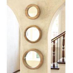 set of round wood mirrors ballard designs