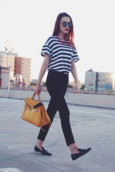 Christian Dior Sunglasses, Koton Necklace, Zara Tshirt, Mango Pants, Hermès Bag, Mango Loafers