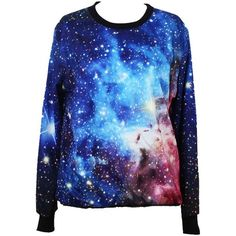 Tparis Galaxy Jumpers Pullovers Patterned Sweatshirts Printed Sweaters... ($20) ❤ liked on Polyvore featuring tops, shirts, sweaters, galaxy, print shirts, pattern tops, pullover tops, galaxy shirt and blue shirt