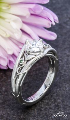 Wild Vine Engagement Ring with Diamond Center and Two Green Diamond Accents in Platinum Green Lake Jewelry 108097
