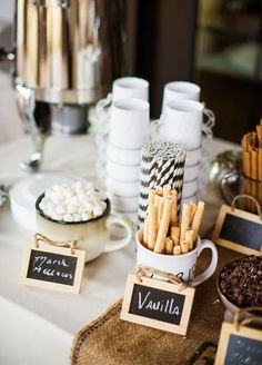 Want a delicious way for guests to warm up? A hot chocolate station is sure to look as good as it tastes! 10 Best Winter Wedding Ideas