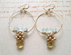 Pale Blue Gemstone Hoops Blue Topaz Earrings by BellaAnelaJewelry, $85.00