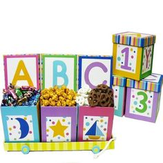 A B C's and 1 2 3's Baby Gift Basket for Boys or Girls by Art of Appreciation Gift Baskets. $29.99. Congratulate Mom, Dad and Siblings on the birth of their precious new family member! Each ABC 123 Block is nestled into a decorative cart. Open each box to discover the sweets and surprises tucked inside. After the goodies are gone, these great gift boxes make great décor and storage in babies room.Includes: Butter Toffee Popcorn,Baby Butter Mints, Frosted Pretzels,Butter To...