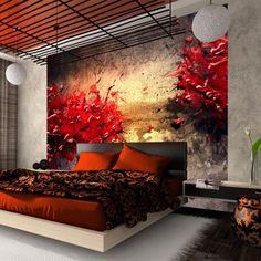 Fototapeta - A volcano of passion Asian Inspired Bedroom, Asian Bedroom Decor, Bedroom Red, Asian Decor, Japanese Style Bedroom, Japanese Home Decor, Bedroom Wallpaper Murals, Wall Murals, Asian Room