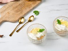 Bananenmousse met speculaas - Libelle Lekker Limoncello, Creme Brulee, Biscuits, Deserts, Pudding, Fruit, Healthy Recipes, Food, Meringue