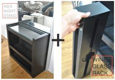 #DIY - IKEA nightstand + Wine Glass Rack. Perfect mini bar for #smallspaces