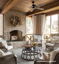 This is exactly what I would love to have a screened porch, fireplace, perfect white curtains! Outdoor Seating, Outdoor Rooms, Outdoor Kitchens, Rustic Outdoor Spaces, Rustic Patio, Outdoor Patios, Outdoor Curtains, Indoor Outdoor, Outdoor Decor