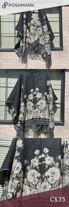 large blanket shawl 🙂 perfect for a cozy winter ❤️ is soft and warm, doesn't have sleeves but sits on the shoulders. can be worn with a belt too ❤️ Sweaters Shrugs & Ponchos Cropped Cardigan Sweater, Shrug Cardigan, Wrap Sweater, Festival Poncho, Grey Shrug, Blanket Shawl, Cozy Winter, Knitted Poncho, Black Knit