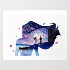 Art Print featuring Pocahontas Double Exposure by Ahmad Illustrations