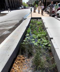 New idea in how to handle run off in an urban setting. A linear concrete rain garden. Freno™ Rain Garden | HOK Product Design