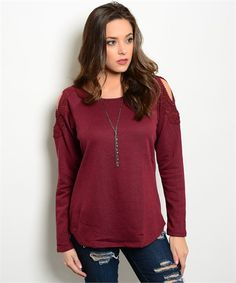 This super comfy sweater top is oh so cute!! The Crochet Cold Shoulder Sweater comes in the perfect Fall Wine color and features a scooped neck, a figure flattering curved hemline, long sleeves, and f