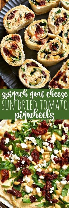 Healthy Food InspirationThese Spinach Goat Cheese Sun Dried Tomato Pinwheels are the perfect appetizer! Packed with delicious flavor and SO easy to make, they're ideal for cocktail parties, picnics, ladies nights, or even dinner! Yummy Appetizers, Appetizers For Party, Appetizer Recipes, Dip Recipes, Detox Recipes, Easy Recipes, Halloween Fingerfood, Vegetarian Recipes, Cooking Recipes