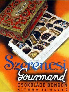 Szerencsi Gourmand csokoládé bonbon plakát Vintage Ads, Vintage Posters, Poster Ads, Kakao, Illustrations And Posters, Hungary, Illustrators, Decorative Boxes, Graphic Design