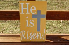 He Is Risen Yellow Easter Word