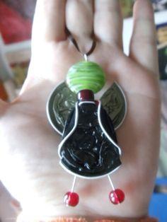 Pendentif ANGE (Capsules de café et perles)