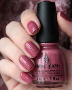 nails - Fifth Avenue, #China_Glaze - dark rosy mauve (antique pink) creme #nail_polish / lacquer