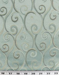 Medium Weight Drapery / Medium Weight Upholstery A jacquard scroll in light neutral shades (ivory, gold, beige, tan) on a light icy-blue background. This fabric coordinates with several oth. Buy Fabric, Printing On Fabric, Patterned Chair, Fabric Remnants, Jacquard Fabric, Home Decor Fabric, Drapery Fabric, Home Office Decor, Fabric Patterns
