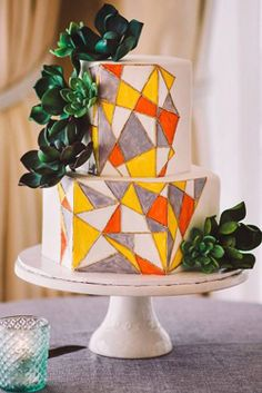 amazing wedding cakes Ideas For Amazing Wedding Cakes Wedding planning ideas amp; Wedding dresses, decor, and lots more. White Wedding Cakes, Beautiful Wedding Cakes, Let Them Eat Cake, Wedding Colors, Cake Decorating, Wedding Planning, Geometric Patterns, Bride, Orange