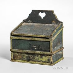 Painted Slant-lid Wall Box, New England, early 19th century, ht. 12 1/2, wd. 11 1/2, dp. 8 in.